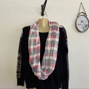 Cuddle Duds Soft Infinity Pink Plaid Scarf